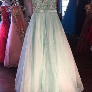 Light teal blue prom pageant dress